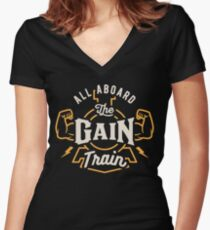 All Aboard The Gain Train Women's Fitted V-Neck T-Shirt