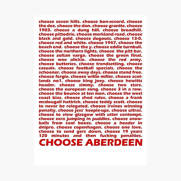 Choose Aberdeen. Photographic Print
