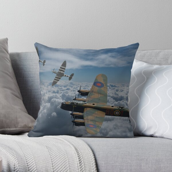 Lancaster Bomber and Spitfire Escort Throw Pillow