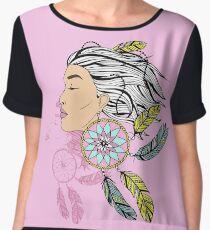 girl with a earring in boho style. sketch. Women's Chiffon Top