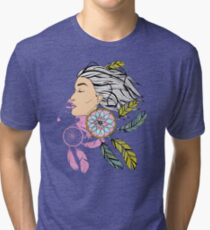 girl with a earring in boho style. sketch. Tri-blend T-Shirt
