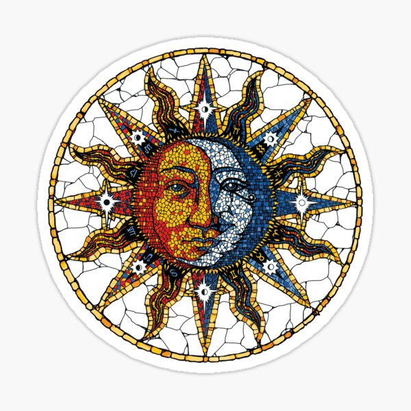 Celestial Mosaic Sun and Moon COASTER Sticker