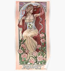 Veiled Lady of January with Pink Carnations and Snowdrop Birth Flower Corset Mucha Inspired Birthstone Series Poster