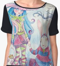 Alice and the White Rabbit, dressed as the Hatter and the Cheshire Cat for Halloween Chiffon Top