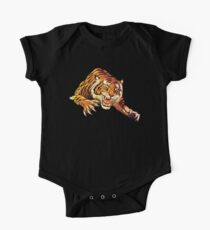 TIGER, Head, Attack, Pounce, Growl, on BLACK Kids Clothes