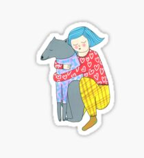 Girl and her dog Sticker