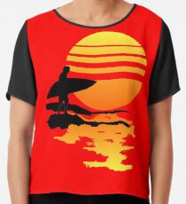 Surfing Sunrise Chiffon Top