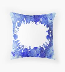 Blue Floral Pattern 04 Throw Pillow