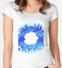 Blue Floral Pattern 01 Women's Fitted Scoop T-Shirt