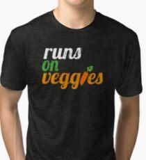 Runs on Veggies   Vegan T-Shirt  Tri-blend T-Shirt
