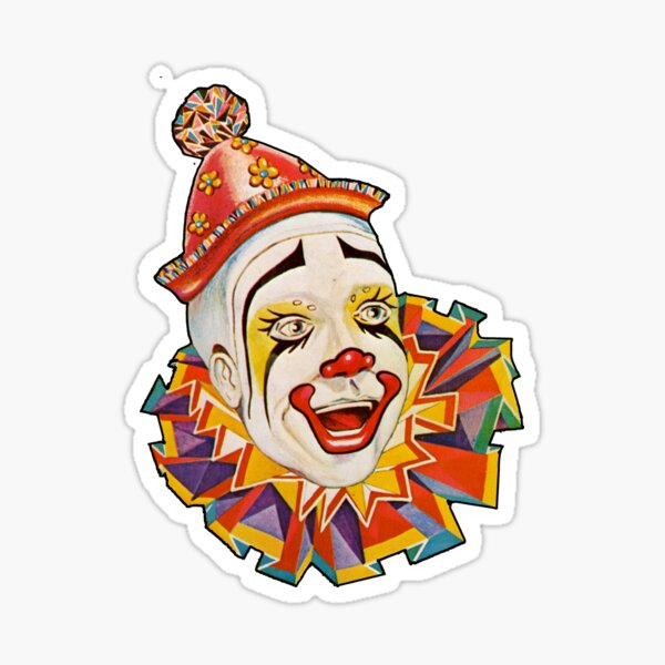 CLOWN. Scary. Horror. CLOWN. Clown Head, Circus, Vintage, Advertising, Poster, on Black. Sticker
