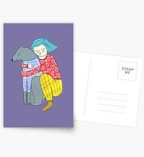 Girl and her dog Postcards