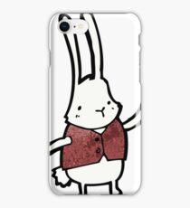 cartoon white rabbit in waistcoat  iPhone Case/Skin