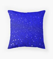 Bright Blue Glitter Throw Pillow