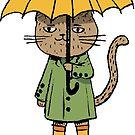Cat with a yellow umbrella by David Barneda
