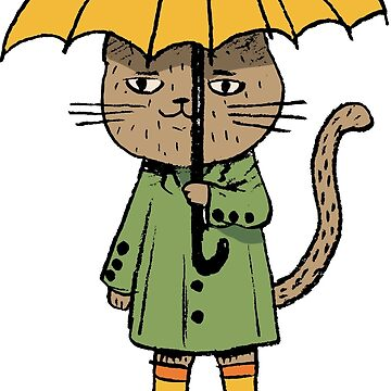 Cat with a yellow umbrella by barneda