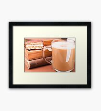 Glass mug with hot chocolate and biscuits in a wooden tray Framed Print