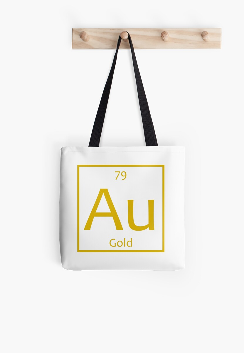 Gold Au Chemical Symbol Tote Bags By The Elements Redbubble