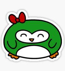 Girly Green Penguin Sticker