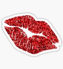 Glitter Lips : Red! Sticker