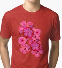 Pink Hibiscus And Honu Turtles Tri-blend T-Shirt
