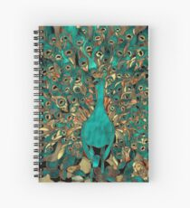 Aqua and Gold Peacock Stained Glass Spiral Notebook