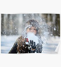 Young woman, winter portrait Poster