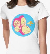 Electric Banana Monkey Pattern Women's Fitted T-Shirt