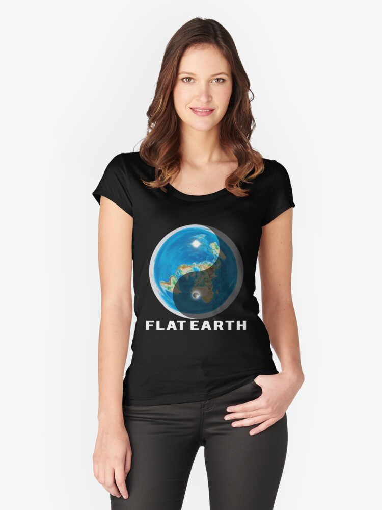 Flat Earth Yin and Yang  Women's Fitted Scoop T-Shirt Front