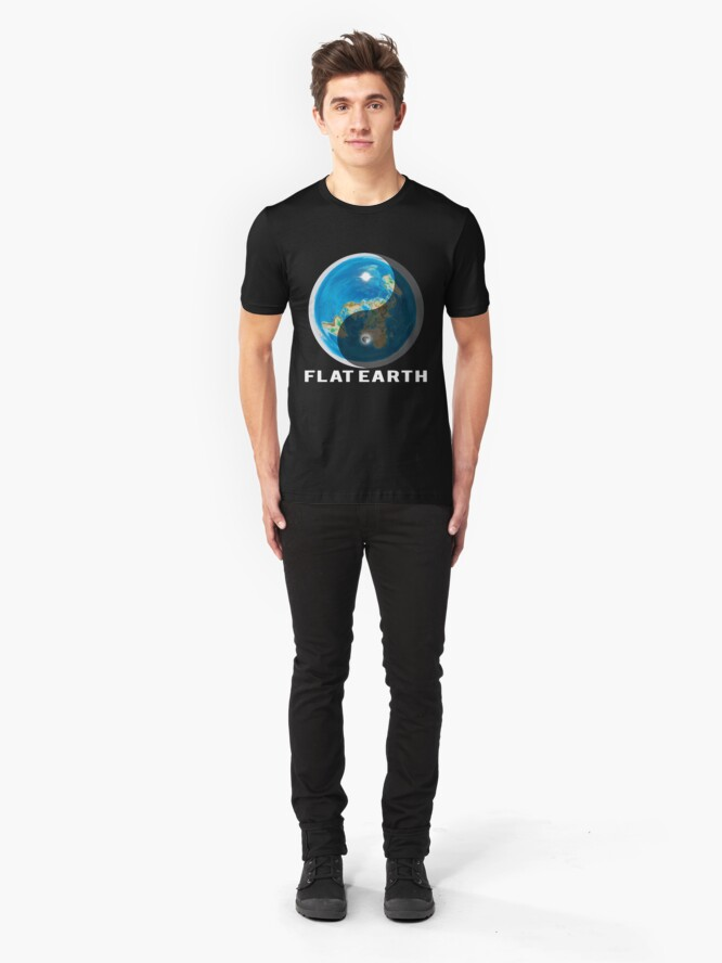 Alternate view of Flat Earth Yin and Yang  Slim Fit T-Shirt