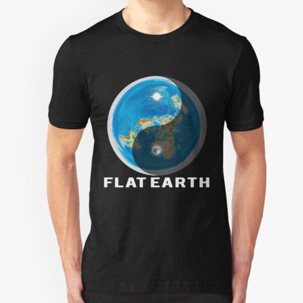 Flat Earth Yin and Yang  Slim Fit T-Shirt
