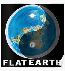 Flat Earth Yin and Yang  Poster