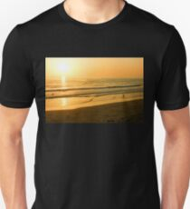Glossy Gold and Surfers - Sunset on the Beach in California  Unisex T-Shirt