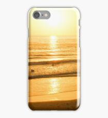 Glossy Gold and Surfers - Sunset on the Beach in California  iPhone Case/Skin