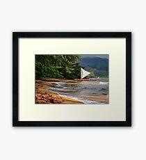 A sailboat In Hanalei Bay Framed Print