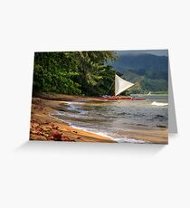 A sailboat In Hanalei Bay Greeting Card