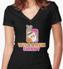 Wisconsin Skinny Mmmmm Women's Fitted V-Neck T-Shirt