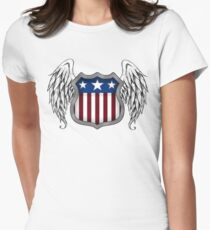 Winged American Shield (White) Women's Fitted T-Shirt