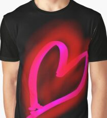 Glowing Pink-Red Valentine Heart Graphic T-Shirt