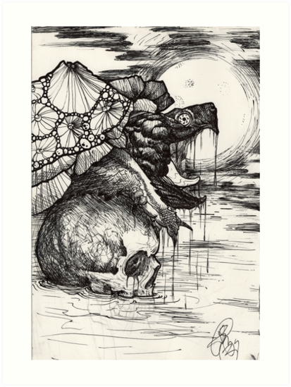 snapping turtle pen and ink by resonanteye