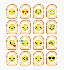 Bread with Egg Emoji Different Facial Expression Photographic Print