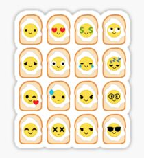 Bread with Egg Emoji Different Facial Expression Sticker