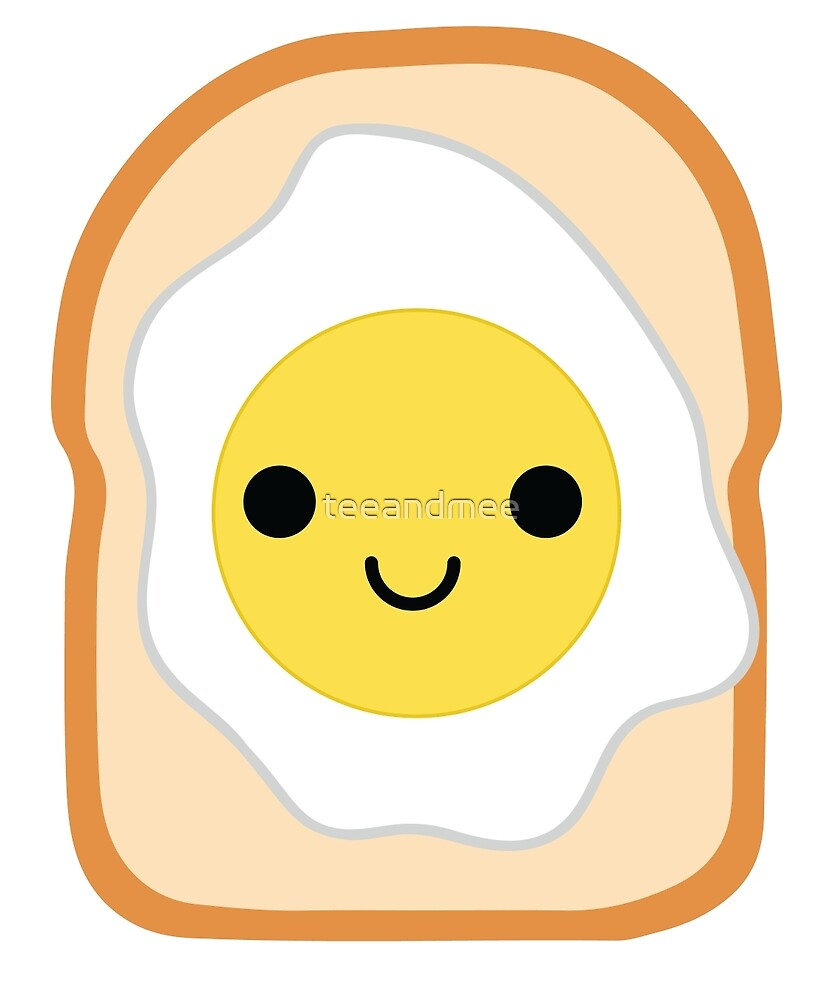 Bread with Egg Emoji Happy Smiling Face by teeandmee