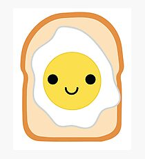 Bread with Egg Emoji Happy Smiling Face Photographic Print