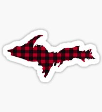 UP Upper Peninsula Michigan Buffalo Check Plaid Yooper  Sticker