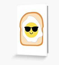 Bread with Egg Emoji Cool Sunglasses Greeting Card