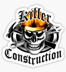 Construction Skull 4 with Gold Hard Hat Sticker