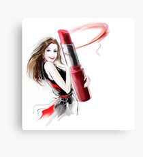 girl with lipstick Canvas Print