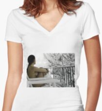"""""""Snowstorm"""" Women's Fitted V-Neck T-Shirt"""