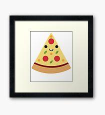 Pizza Emoji Happy Smiling Face Framed Print